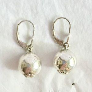 Vintage sterling silver ball dangle earrings 925